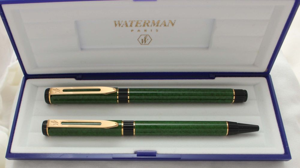 3044 Watermans Centurion Fountain Pen and Ball Pen set in Green Marble, Med