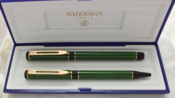 3044 Watermans Centurion Fountain Pen and Ball Pen set in Green Marble, Medium Nib. Mint and Boxed.