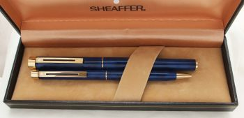 3045 Sheaffer Targa Fountain Pen and Ball Pen Set in Laque Blue Marble. Fine FIVE STAR nib. Mint and Boxed.