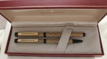3050 Sheaffer Targa Slim Fountain Pen and Ball Pen Set in the Feather pattern. Medium FIVE STAR nib. Mint and Boxed.