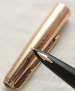 3070 Parker 61 Custom Fountain Pen in Classic Black with a Rolled Gold Cap. Broad FIVE STAR Nib.
