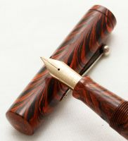 3133 Rare Watermans Ideal No.55V in Red Ripple. Fabulous Fine FIVE STAR Nib.