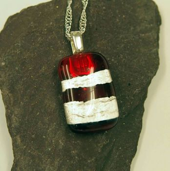 Candy Apple Red and Silver Leaf Fused Glass Pendant