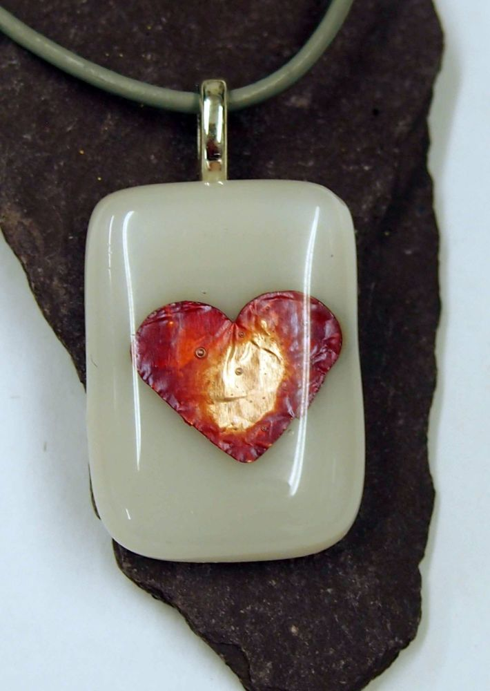 White and Copper Leaf Fused Glass Heart Pendant