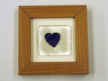 Framed fused glass tile with copper heart