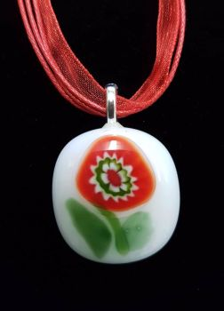 White and red millefiori fused glass flower pendant