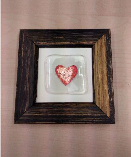 Framed fused glass tile with copper foil heart