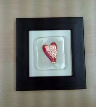 Framed fused glass tile with copper foil heart
