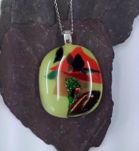 Yellow and  green dichroic fused glass pendant