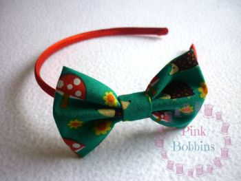 Hedgehog/toadstool woodland bow hairband - made to order