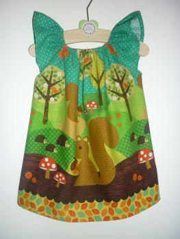 Woodland squirrel angel sleeve dress