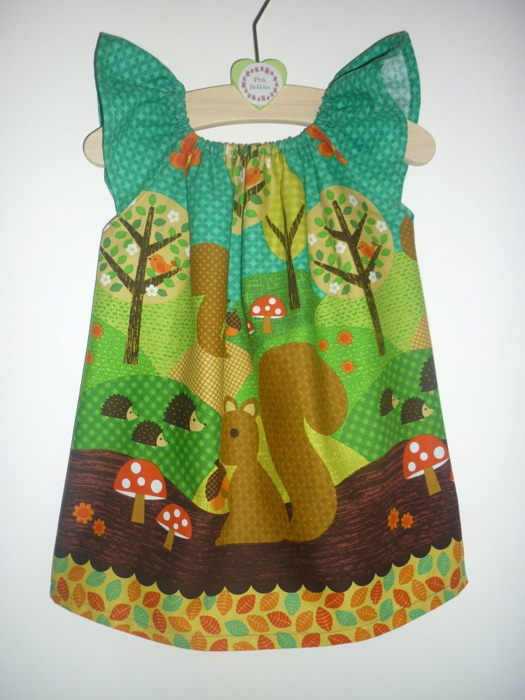 Woodland squirrel angel sleeve dress