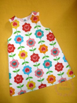 Retro floral pinafore dress - made to order