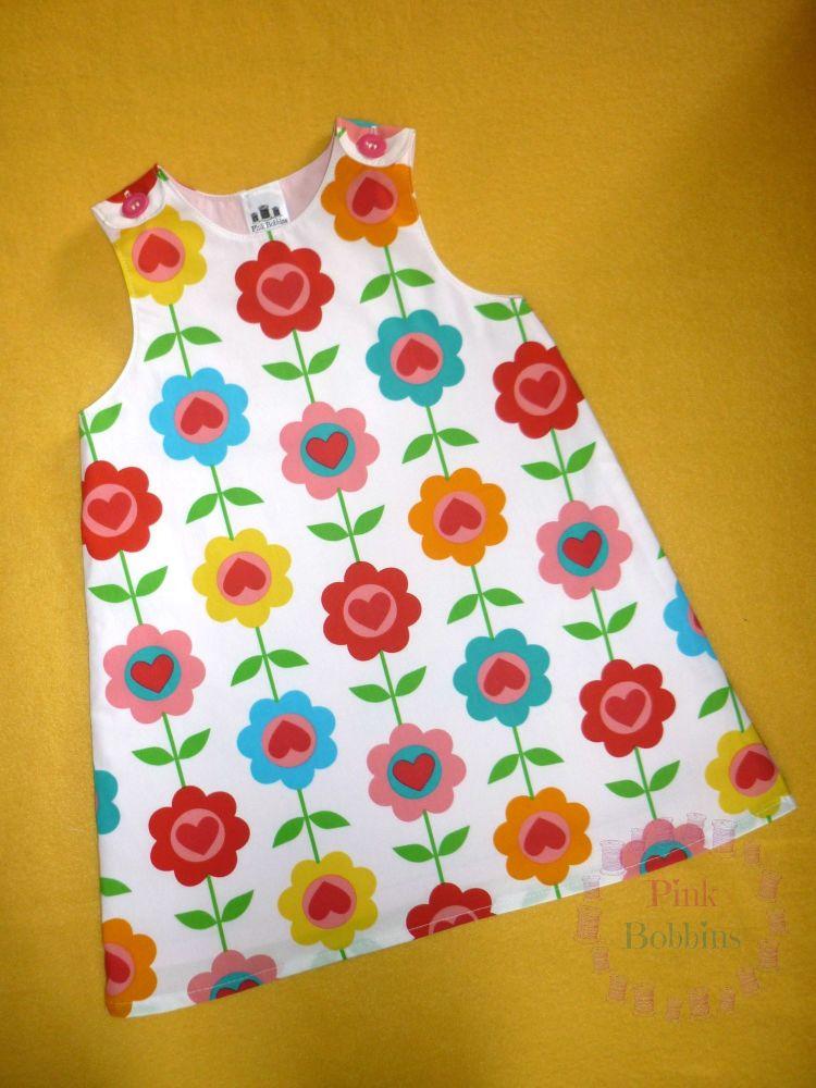 Retro floral pinafore dress