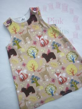 Beige woodland animal pinafore dress - made to order