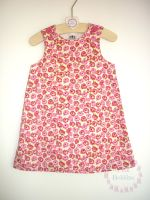 Pink poppy pinafore dress - made to order