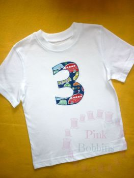 No. 3 t-shirt - boys - choice of designs for the number