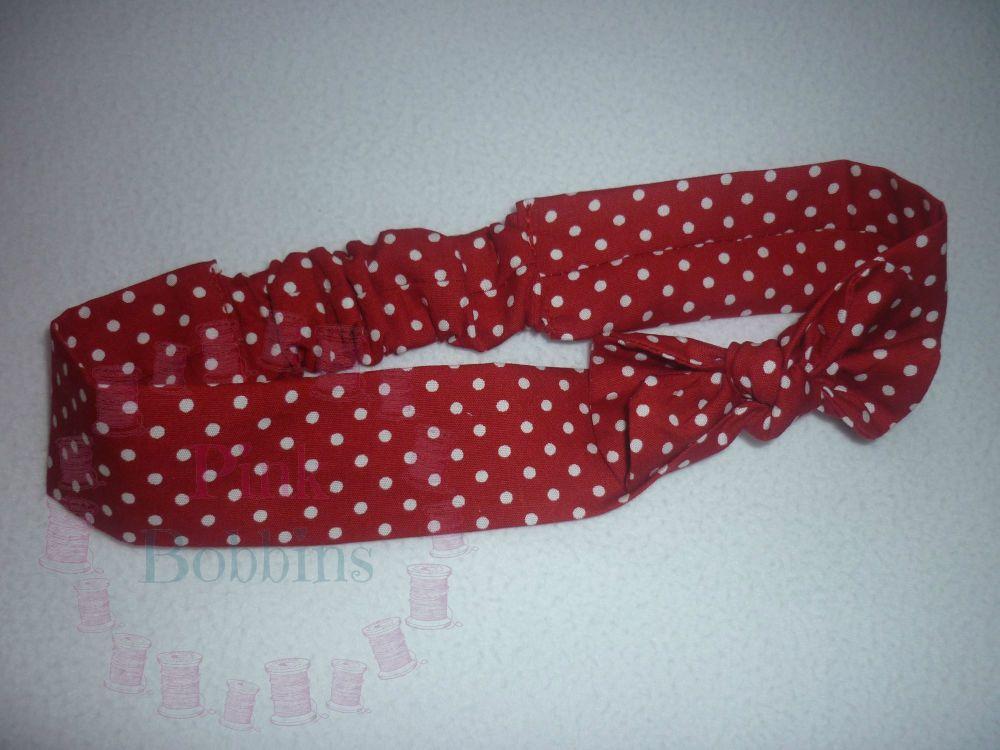 Red polka dot fabric headband