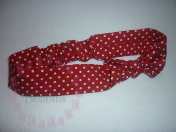 Red polka dot fabric headband - made to order