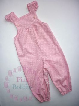 Baby pink polka dot jumpsuit - made to order
