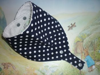 Navy polka dot dummy bib