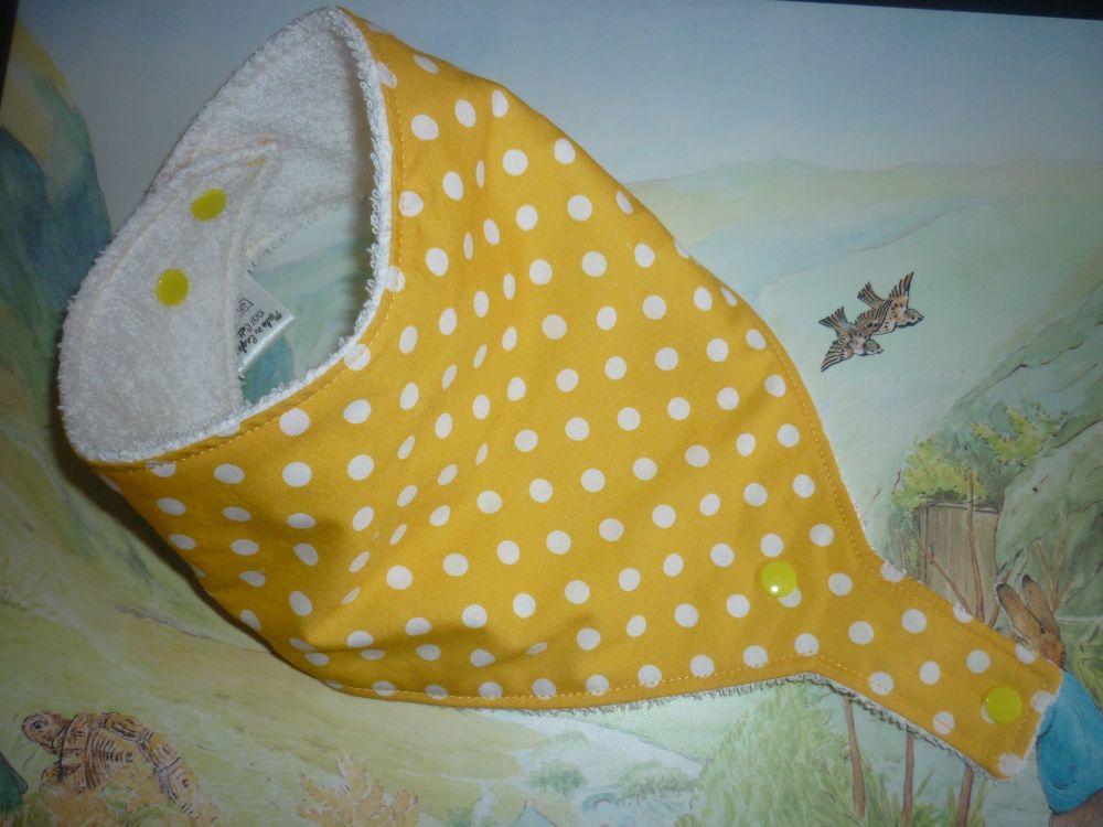 Yellow polka dot dummy bib