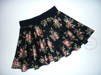 Black floral circle skrt - made to order