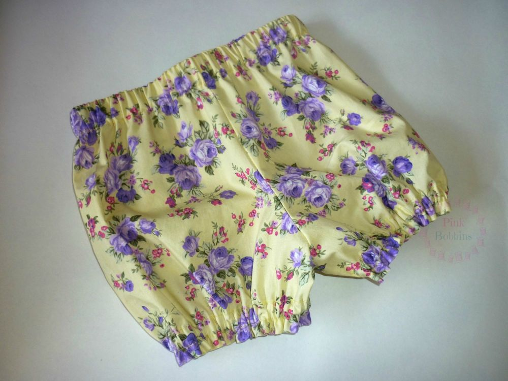 Yellow and purple floral bloomers