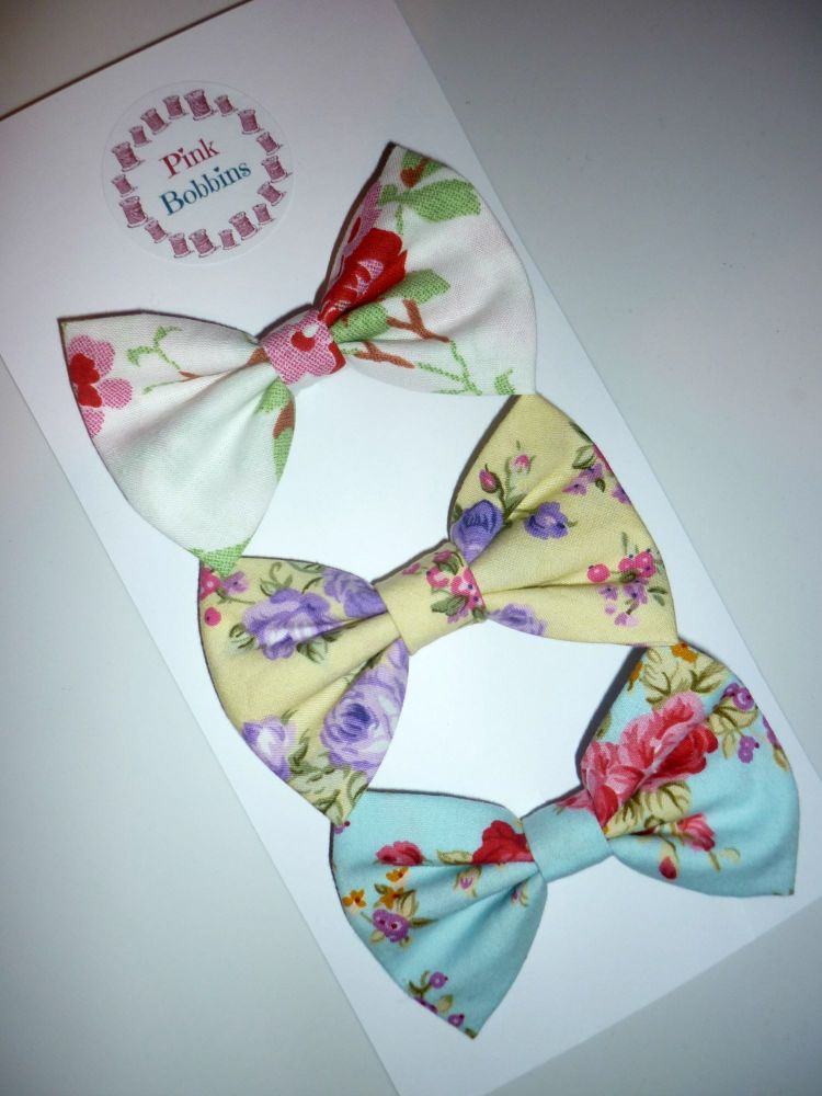 Summer florals hair bow set