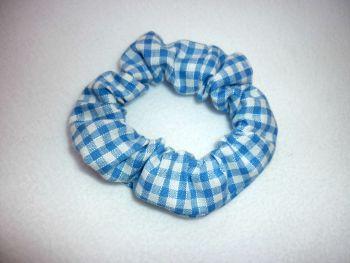 Sky blue gingham scrunchie