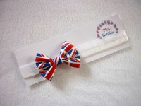 Union jack bow elastic headband - in stock