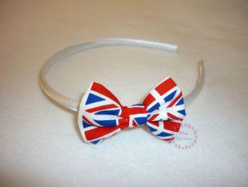 Union Jack flag bow hairband - made to order
