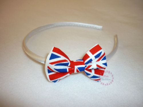 Union Jack flag bow hairband