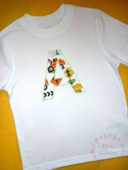 Initial t-shirt - boys t-shirt style - 3-4 years plus - choice of designs for the letter