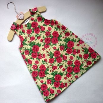 Pink rose Liberty of London fabric pinafore dress