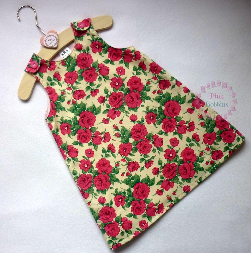Pink rose Liberty of London fabric pinafore dress