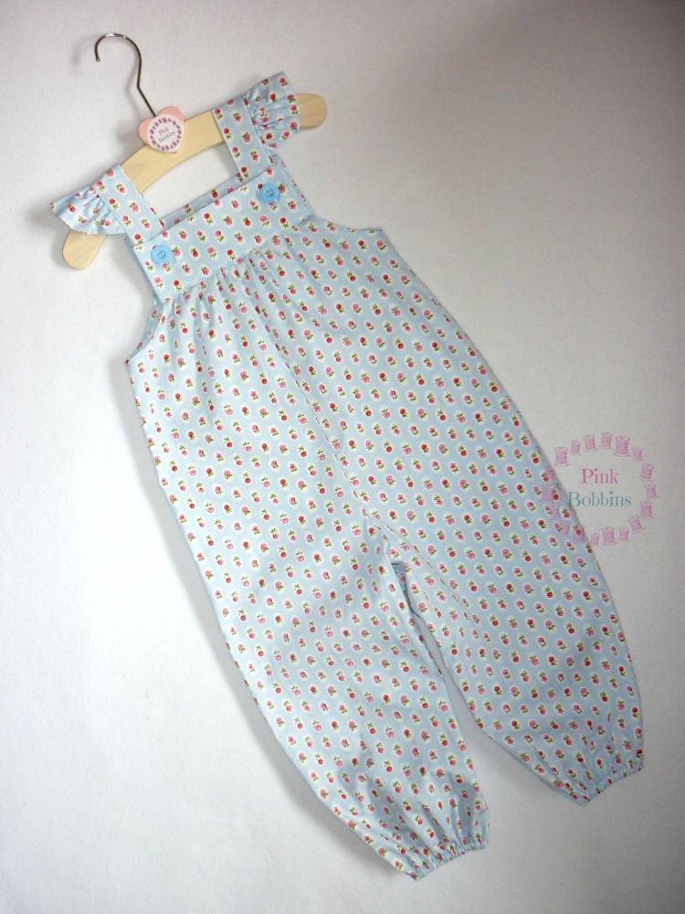 Baby blue stripy flower jumpsuit