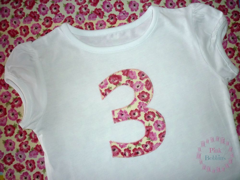 No. 3 t-shirt - girls - choice of designs for the number