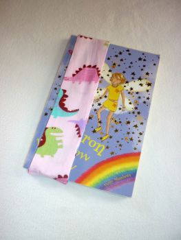 Dinosaur (pink) elasticated bookmark - made to order