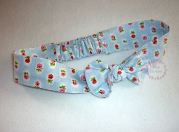 Baby blue ditsy floral fabric headband