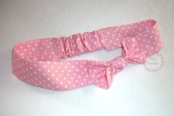 Pink polka dot fabric headband
