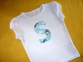 Initial t-shirt - girls cap sleeved top style - 3-4 years plus - choice of designs for the letter