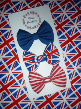 UK/British hair bow set