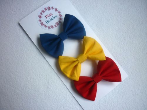 Primary colours hair bow set