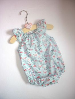 Blue flamingo ruffle neck romper - made to order