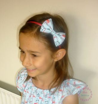Blue flamingo bow hairband - made to order