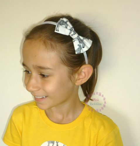 Zebra bow hairband