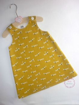 Mustard dachshund dog pinafore dress