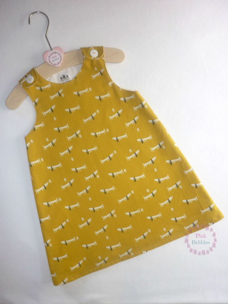Mustard dashchund dog pinafore dress