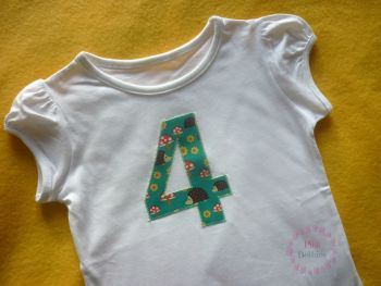 Girl's birthday t-shirt - hedgehogs - any number!